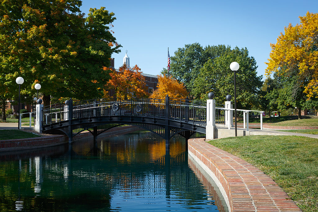 The bridge crossing the pond at Central College.