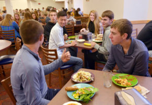 Students in the Central Market dining center