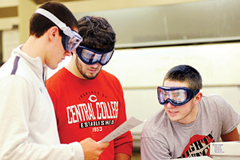 Central College chemistry student.