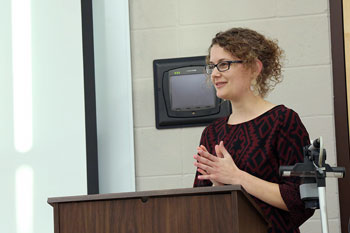 An emerging scholars student presenting her honors thesis.