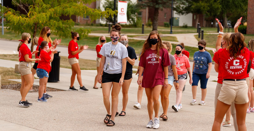 New students being greeted on campus.