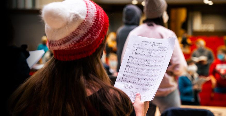 Choir rehearsal at Central College