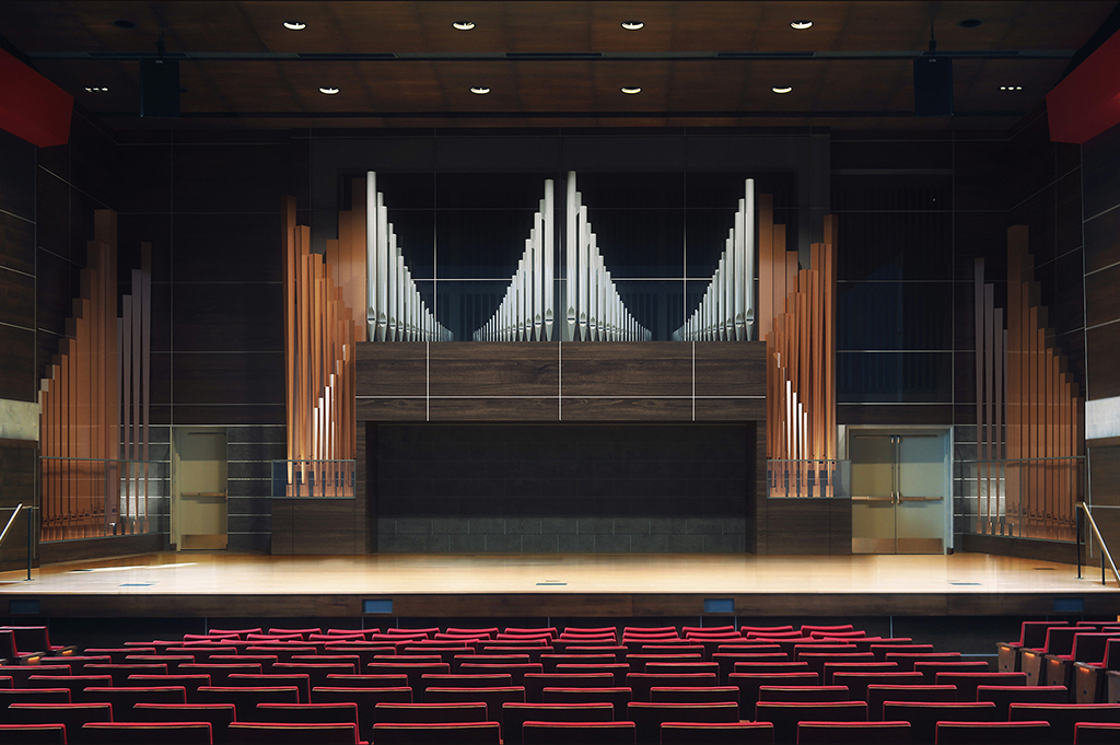 Rendering of Douwstra stage with proposed organ.