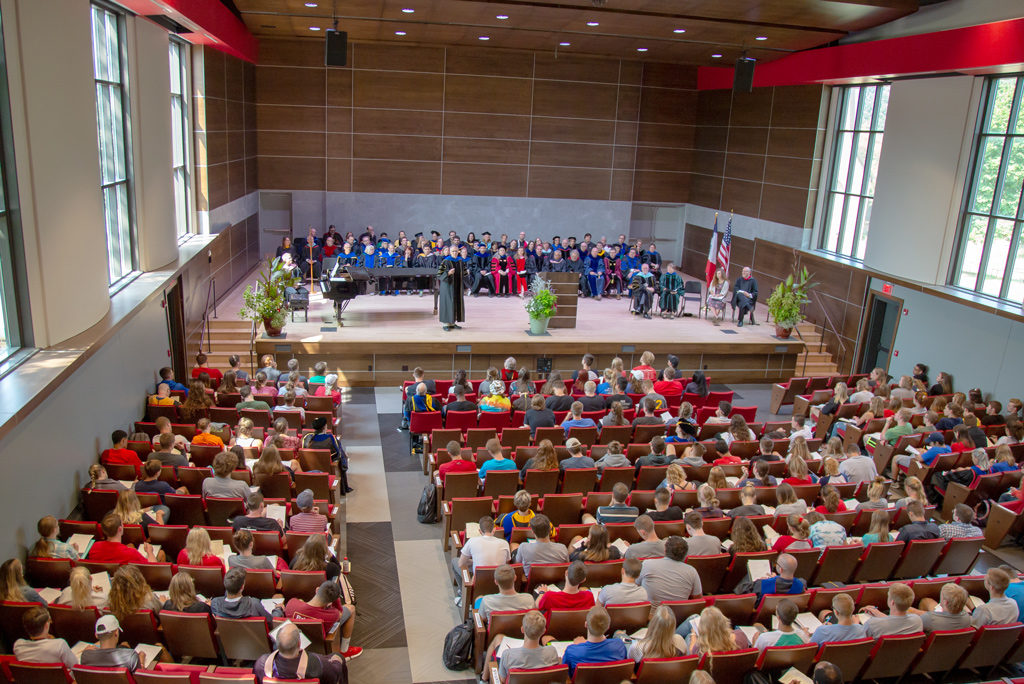 Scene from 2018 opening convocation in Douwstra Auditorium.
