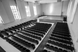 Black and white photo of Douwstra Auditorium