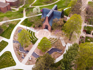 Aerial photo of the Peace Mall History Garden