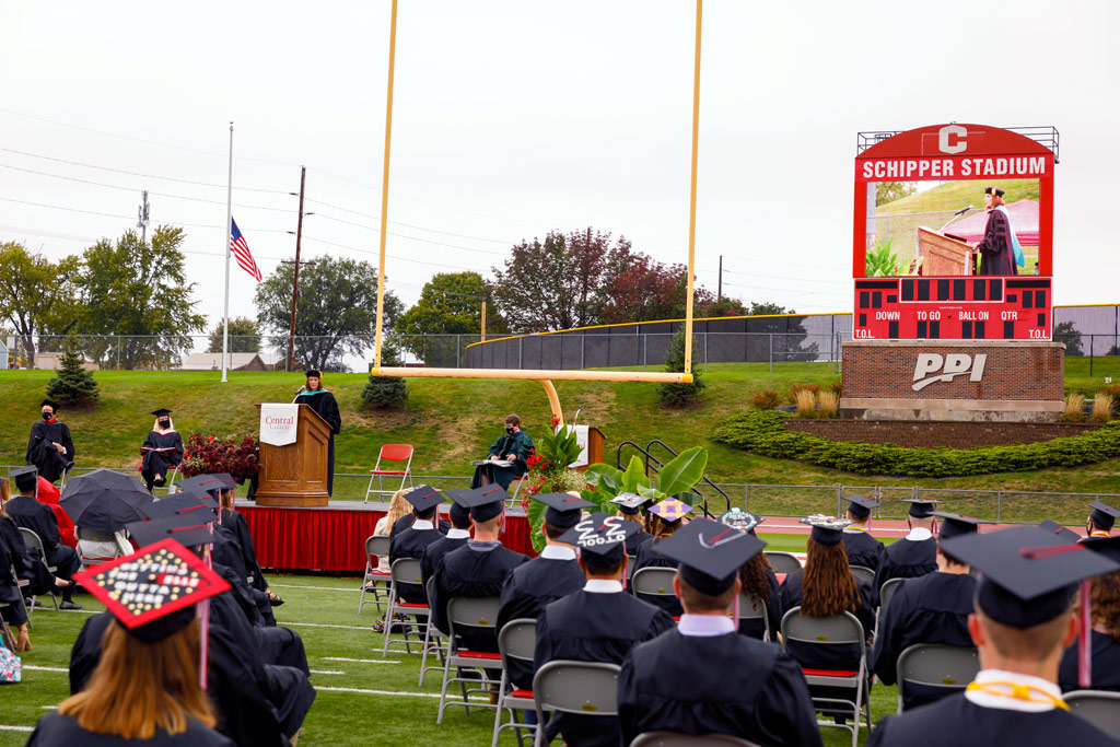 Scene from 2020's outdoor Commencement ceremony.
