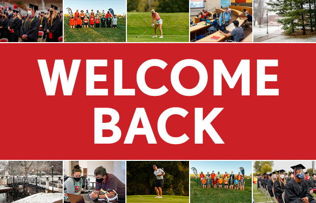 """Graphic with a """"Welcome Back"""" message and various photos from the fall semester."""