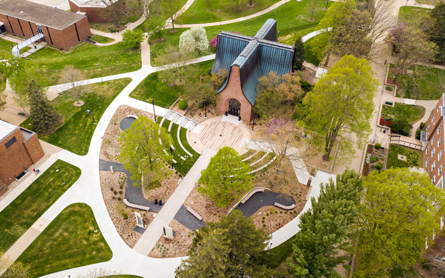 Aerial view of the Peace Mall amphitheatre and history garden.