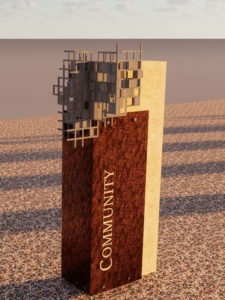 Rendering of the Community history marker depicting intertwined grids that illustrate the interdependence of Central and its home town.