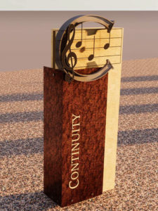 Rendering of the Continuity history marker, celebrating celebrates the Central A Cappella Choirs history with a motif referencing a 1930's logo found on glee club beanies.