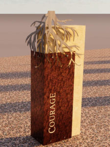 Rendering of the Courage history marker, depicting tree roots that symbolize Central's steadfastness in the face of adversity.