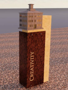 Rendering of the Creativity history marker, with a building representing one crafted as a small keepsake by the student artisans of CCSI.