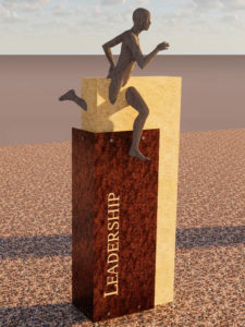 Rendering of the Leadership history marker, depicting a running athlete.