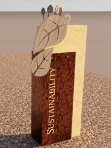 Rendering of the Sustainability history marker, depicting leaves that align to form a footprint that represents Central's fundamental values of sustainability leadership.