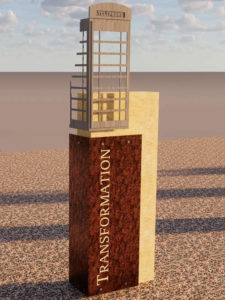 Rendering of the Transformation history marker, depicting the British telephone booth found on campus that represents study abroad programs.