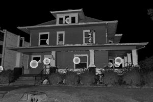 Laser scanned image of the front of Boardwalk House.