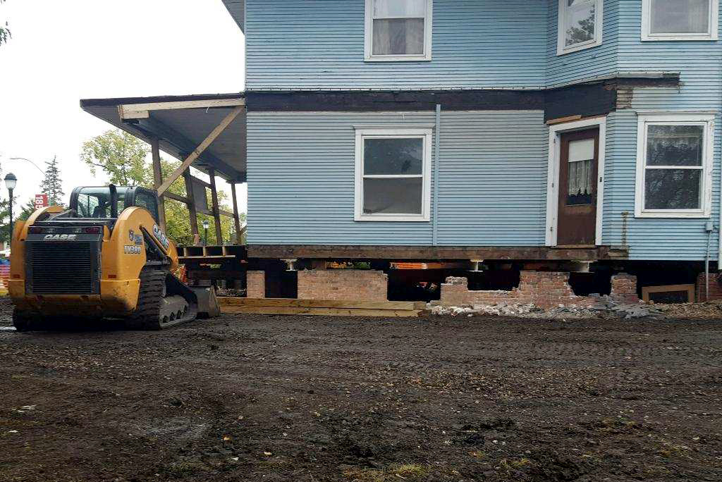 The house has been lifted off of the foundation.