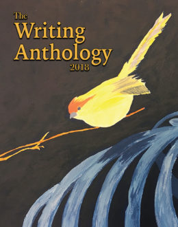 The Writing Anthology 2018 cover featuring a yellow bird on a twig