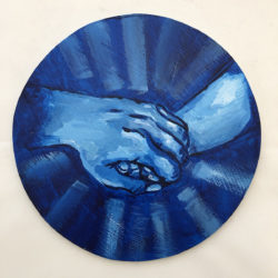 "Ally Madsen, 8"" diameter, acrylic"